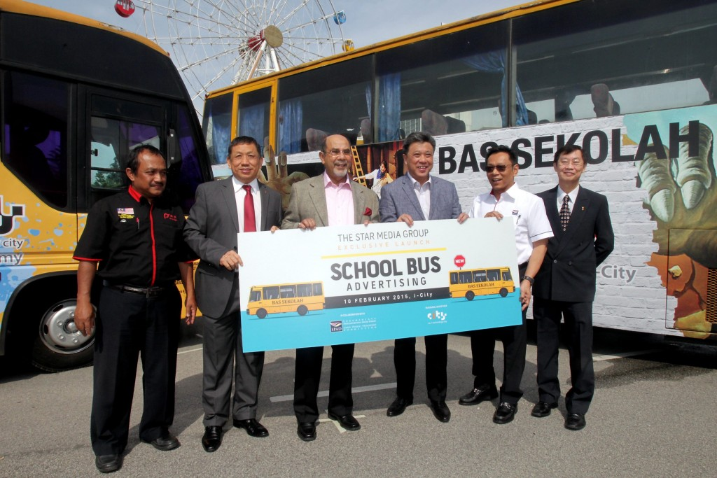 From left: Federation of Malaysian Schoolbus Operators Associations president Amali Munif Rahmat, I-Berhad executive chairman Tan Sri Datuk Lim Kim Hong, Land Public Transport Commission (SPAD) chairman Tan Sri Datuk Seri Dr Syed Hamid Syed Jaafar Albar, The Star's group managing director and chief executive officer Datuk Seri Wong Chun Wai, SPAD chief executive officer Mohd Nur Ismal Mohamed Kamal, I-Berhad's deputy chairman Datuk Eu Hong Chew and at the launch of the School Buzz project