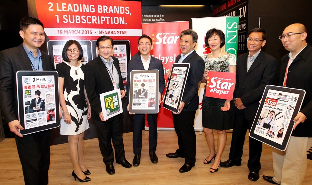 Digital Age: (From left) Sin Chew Media Corporation Bhd general manager (IT) and MCIL Multimedia Sdn Bhd CEO Keu Tien Siong, Star Publications chief revenue officer Lim Bee Leng, Sin Chew Media CEO Koo Cheng, Tan, Wong, Star Publications acting group chief editor Leanne Goh, Sin Chew Media editor-in-chief Pook Ah Lek and Star Publications chief digital officer Roy Tan attending The Star-Sin Chew ePaper partnership launch event at Menara Star in Petaling Jaya.