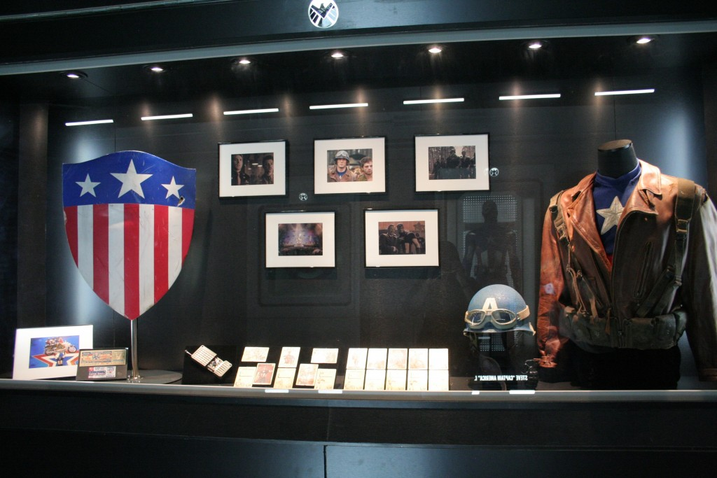 A shot of Victory Hill's exhibition featuring memorabilia from Captain America which is one of the major characters in The Avengers.