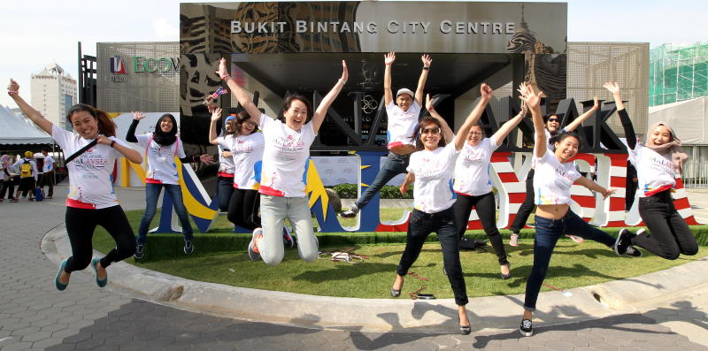 Star Media group's marketing and corporate communications team jumping for joy after successfully organising the inaugural anak-anak Malaysia Walk 2016.
