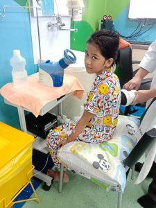 Recovering well: Nur Syiffa receiving postoperative care at IJN, Kuala Lumpur.
